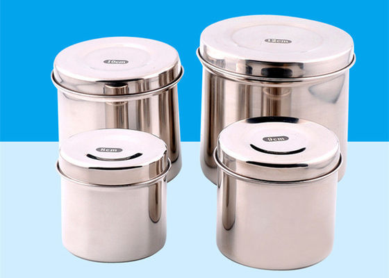 China Silver Stainless Steel Sterilization Container With Small , Medium , Large Size factory
