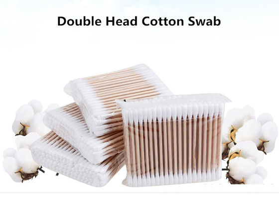China Sanitary Double Head Medical Cotton Swab Stick With Wood Color factory