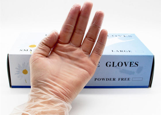 Transparent Disposable Latex Gloves , Powdered Latex Gloves 100 Pcs / Box